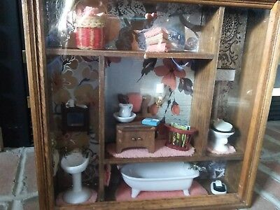 vintage bathroom doll furniture shawdow box