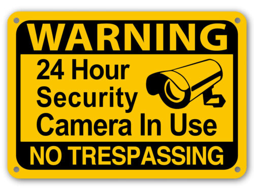 Yellow Warning 24 hour video surveillance No Trespassing Home Security cctv Sign