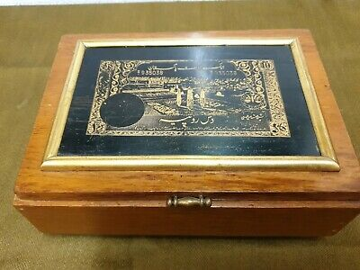 Antique Solid Wood Box with Thick Brass Bank Note On Lid 21 x 15.5 x 8 cm