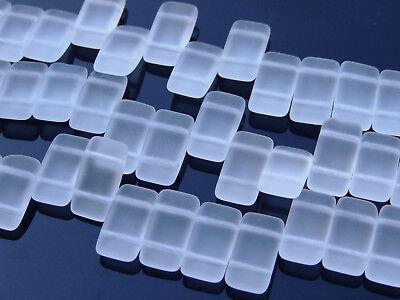 15x Czech Carrier Glass Beads Twin Hole Beads 9x17mm Crystal Matte