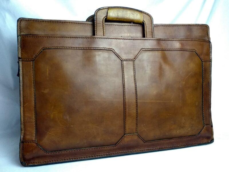 Vtg Distressed Briefcase Laptop Bag Documents Glove Tanned Cowhide Belt Leather