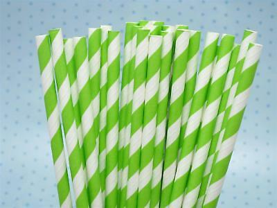 Lime Green And White Striped Paper Straws 8