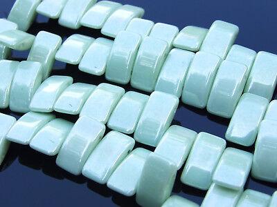 15x Czech Carrier Glass Beads Twin Hole Beads 9x17mm Green Luster