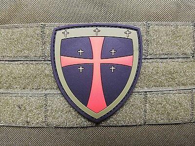 Templar Crusader Cross PVC OD Green Morale Patch Jerusalem Catholic Christian