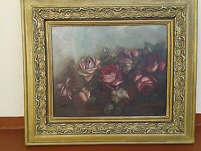 ANTIQUE VICTORIAN OIL PAINTING ON CANVAS OF ROSES. WOOD-GESSO FRAME. 1800'S
