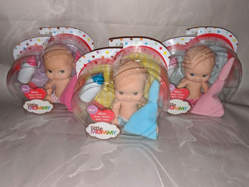 "Mattel Little Mommy Mini Baby 5"" Doll Set of 3 Brand New Free Shipping"