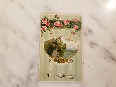 Antique A Happy Birthday Postcard Featuring a Fisherman - Happy Birthday Fisherman