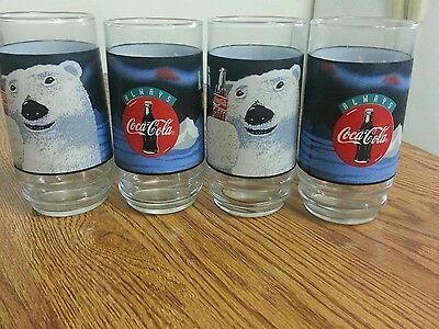 Set of4 Coca - Cola Polar Bear Aways Cool Glasses