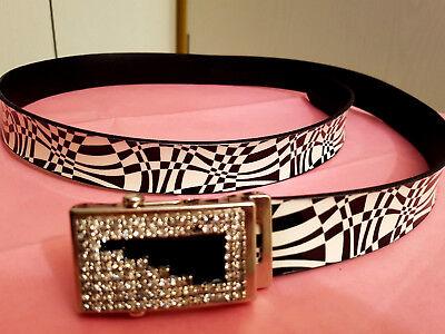 Gü79-ITALY schwarz-weiß Zebra Muster elegant Damen Gürtel Strass Steine (Zebra Erwachsene Gürtel)