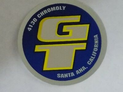 Old mid school NOS GT handlebar seatpost coin decal bmx bike Santa Ana Ca 1 5/8  for sale  Shipping to India