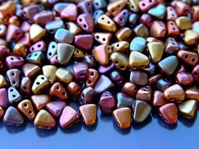 10g Czech Nib - Bit Twin Hole Beads 6x5mm Matte Metallic Bronze Iris