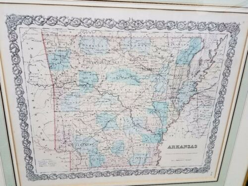 1855 COLTON Antique map ARKANSAS Hand Colored CREDIT SUISSE Collection FRAMED
