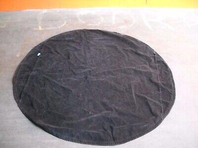 VINTAGE Black VELVET Table Cloth ROUND Design SIDE Flaps RIBBON Edge -