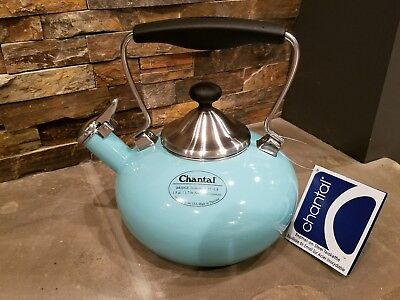 *NEW* Aqua Enamel on Steel Chantal BRIDGE Teakettle 1.8 Qt Water Kettle 37-1LB