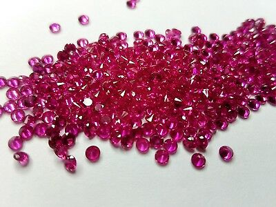 2 mm Round cut Lab Created Ruby Loose Gemstone lot of 20 Stones