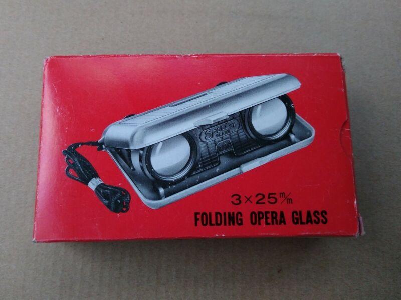 Vintage SPORT Folding Opera Glass Binoculars JAPAN - 3x25m/m.  w/ Box