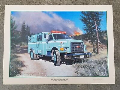 Kenny Youngblood Big Bear Lake California Poster U.S. Forest Service Engine E21