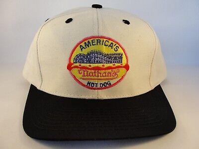Nathans Hot Dog Vintage Snapback Cap Hat Beige Black](Hot Dog Hats)