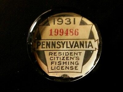 Vintage Style 1931 Pennsylvania   Glass Paperweight Fishing License..by Artist