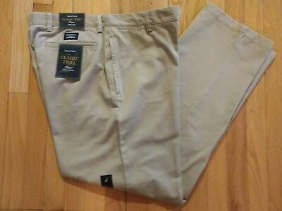 New! Men's Nautica Clipper Relaxed Fit Flat Front Khaki Pants Size 36 x 32 NWT!