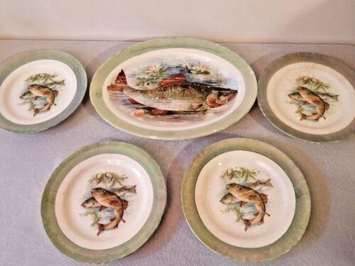 Set of 4 Vintage Antique Edwin M Knowles China Co Semi Vitreous Porcelain Plates