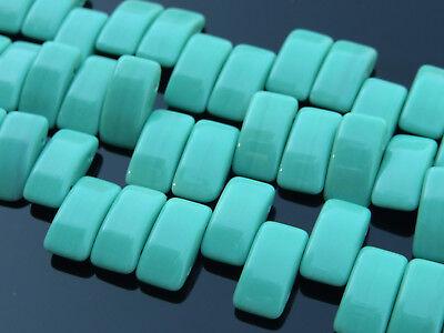15x Czech Carrier Glass Beads Twin Hole Beads 9x17mm Turquoise Green
