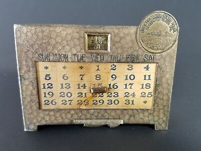 Vintage / Antique Small Metal Summit House Pikes Peak Desktop Perpetual Calendar