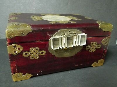 Vtg Oriental Asian Jewelry Box Wood Brass Jade ? Inlay 9