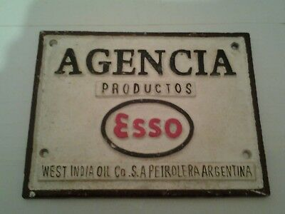 Agencia productos esso west india oil Argentina   cast iron sign/plaque