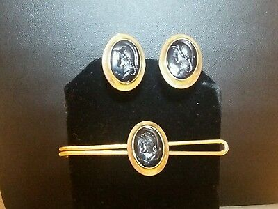 Vintage Correct Quality Hematite Carved Soldier Cameo Cufflinks and Tie Bar Set