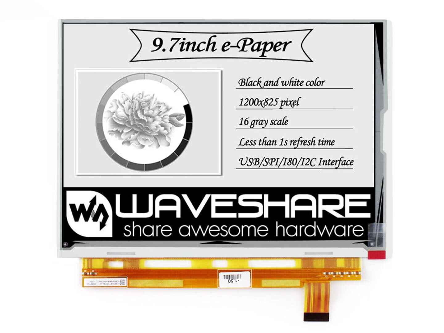 Two-Color 9.7inch E-Ink Display e-Paper Screen 1200x825 for