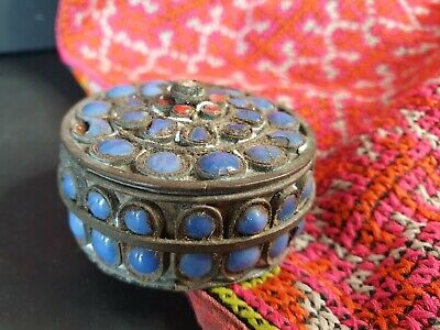 Old Tibetan Brass Vanity Box with Local Blue and Red Stones …beautiful accent