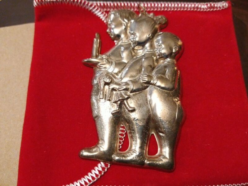 NEW Gorham Children Waiting for Santa Sterling Silver Christmas Ornament 1353