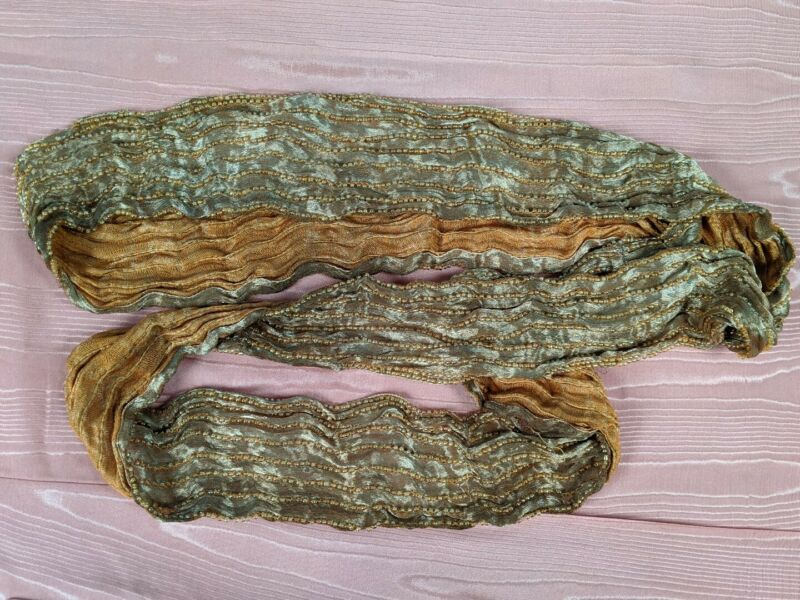 ANTIQUE FLAPPER 1920S METALLIC GOLD LAME DRESS TRIM WITH BEADING