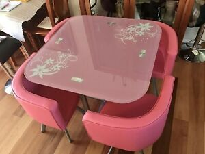 Brand new pink table and chairs kids teenager furniture