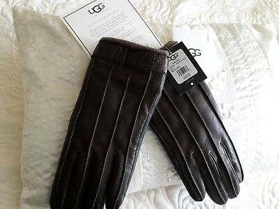 BNWT SIZE L BROWN LEATHER GLOVES BY UGG AUSTRALIA