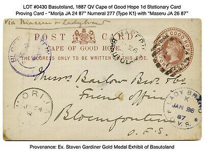 0430: Basutoland, 1887 QV Cape of Good Hope 1d Stationary Card - Proving Card