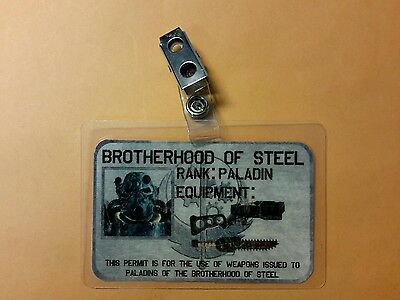 Fallout ID Badge - Brotherhood of Steel Rank Paladin Cosplay prop costume - Brotherhood Of Steel Costume