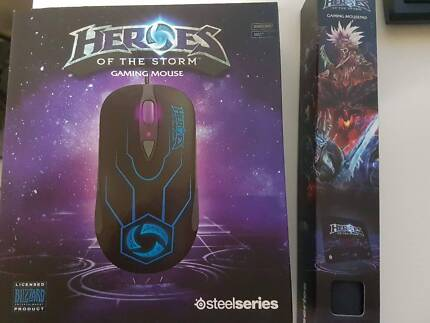 steelseries Sensei Raw Heroes of the Storm with mousepad