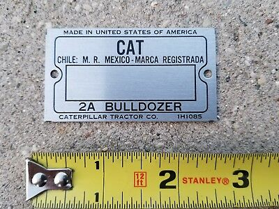 Vintage Cat 2a Bulldozer Serial Number Tag Unused Blank Caterpillar Tractor Co.