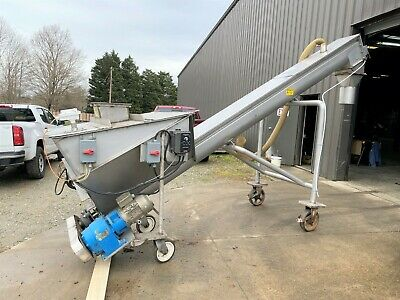 12 Diameter X 15 Long Afeco Portable Inclined Stainless Steel Screw Conveyor
