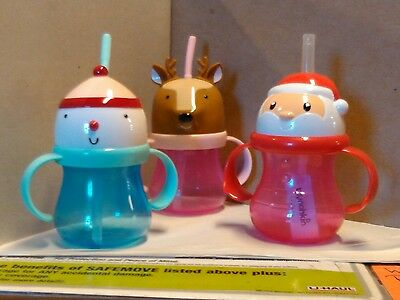 Christmas Sippy Cups (Christmas Sippy CUP with Handles BPA FREE REINDEER, SNOWMAN, OR Santa)