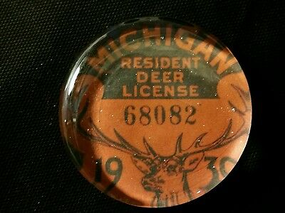 Vintage Style 1930 Michigan  Deer  Hunting License Glass Paperweight by Artist