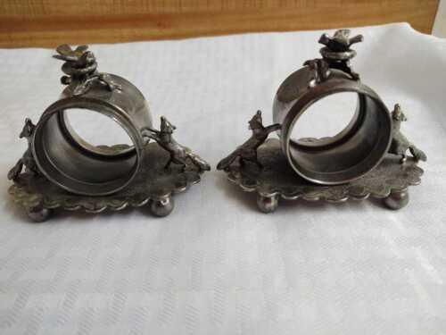 Wilcox silver plate Co. napkin rings holder; Fox and bird quadruple plate.
