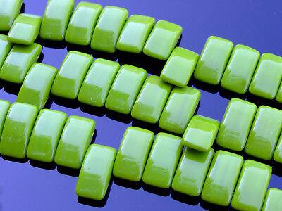 15x Czech Carrier Glass Beads Twin Hole Beads 9x17mm Wasabi