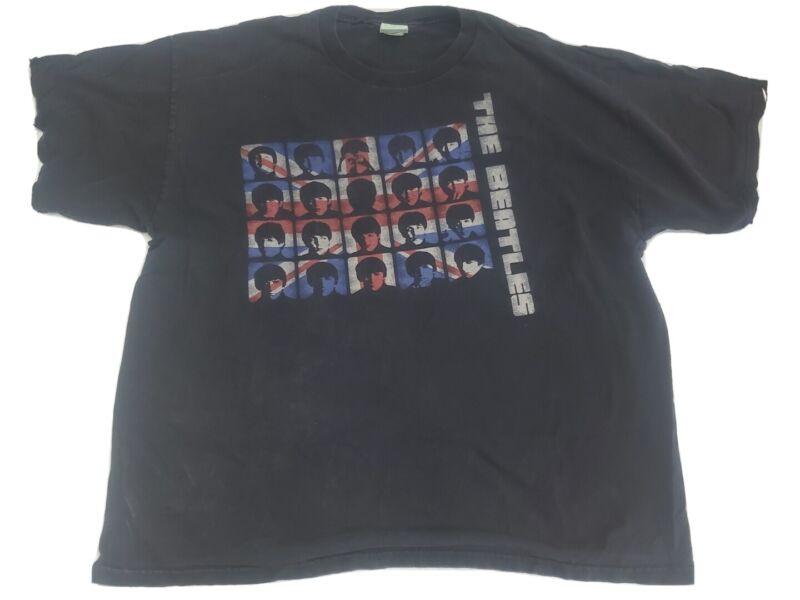 The Beatles 2005 T-Shirt British Flag Black Size XL Music Band tee