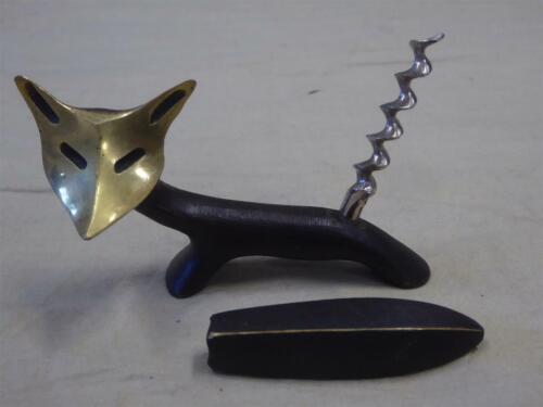 "Antique/Vintage WALTER BOSSE Art Deco Solid Brass FOX CORKSCREW (6 oz, 3.75""x3"")"