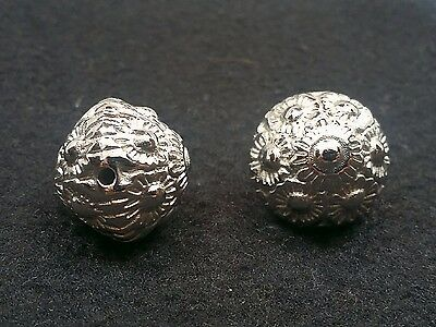 CCB Acrylic Flower Carved Bicone Beads, Platinum Color, 23x24mm,Hole: 2.5mm Qty2 2.5 Mm Bicone Beads