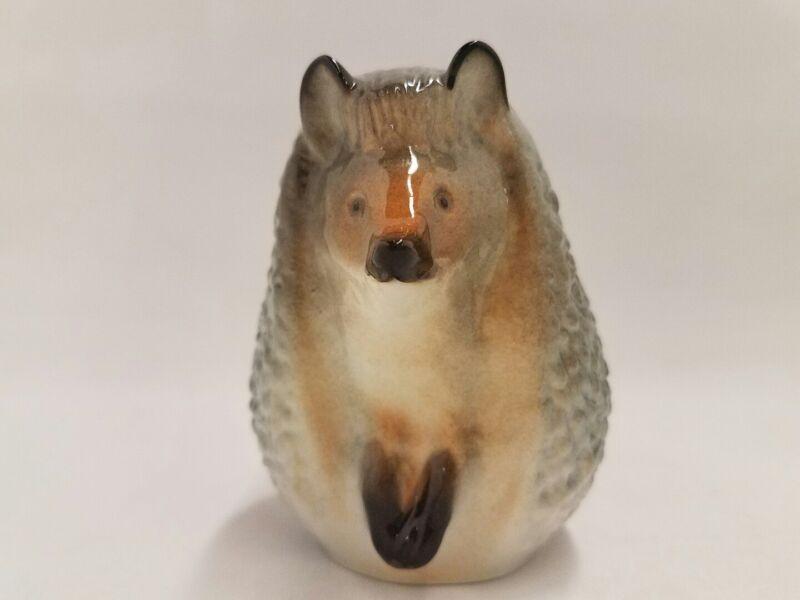 Vintage Hedgehog Lomonosov Porcelain Figurine Russia USSR