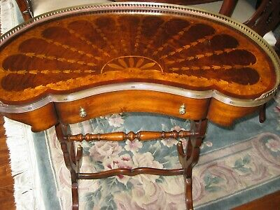 THEODORE ALEXANDER KIDNEY SHAPED DESK/TABLE W/ BEAUTIFUL PEACOCK INLAY & DRAWER  Mahogany Kidney Shaped Desk